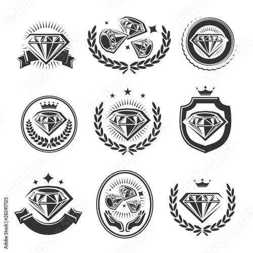 Pinturas sobre lienzo  Diamond labels and elements set. Collection icon diamonds. Vector