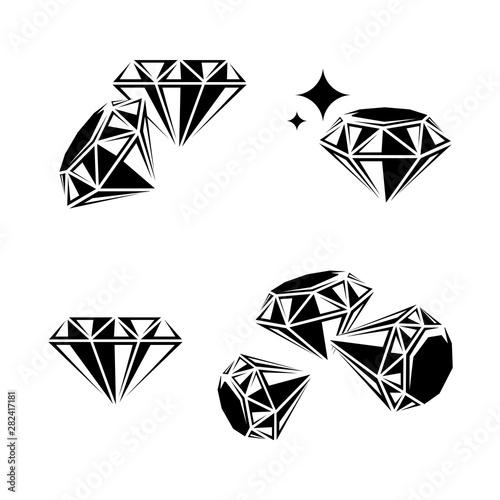 Fotografía  Diamond collection set. Collection icon diamonds. Vector