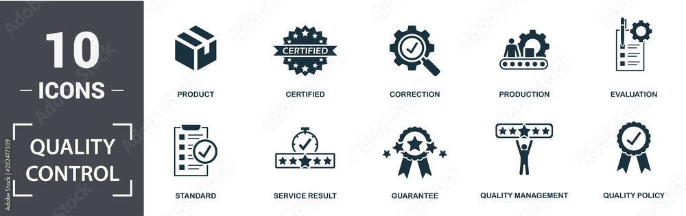 Fototapeta Quality Control icon set. Contain filled flat correction, certified, quality management, quality policy, production, standard, product, evaluation icons. Editable format