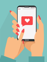 Sending Love Message Concept. 2 Female Hands Holding Phone With Heart, Send Button On Screen.Finger Touch Screen. Flat Cartoon Illustration For Ad, Web Sites,banners, Infographics Design