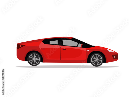 Side view of red sport car. Modern detailed car. Red sedan vehicle. Modern automobile, people transportation. flat cartoon illustration isolated on white background