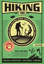 Hiking Trail Promotional Retro Poster Design