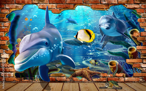 3d illustration wallpaper under sea dolphin, Fish, Tortoise, Coral reefsand water with broken wall bricks background. will visually expand the space in a small kids room