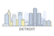 Detroit cityscape, Michigan - city panorama of Detroit, skyline of downtown