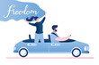Freedom - happy free woman in cabriolet cheering joyful with arm.Transport on road.