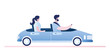 Couple convertible car driving,side view.Male and female characters in cabriolet
