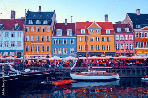 Photo  Nyhavn is a historic and touristy place in Copenhagen