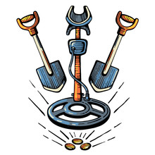 Metal Detector Treasure Hunt Color Logo