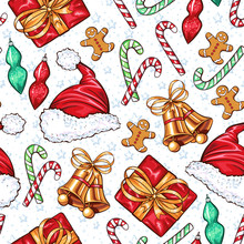 Christmas Decoration Elements Seamless Pattern. Traditional Colorful Decorations. Gift Box, Socks, Bells And Xmas Santa Claus Hat. Decorative Patchwork Textile, Invitation Card, Wrapping Paper Fill