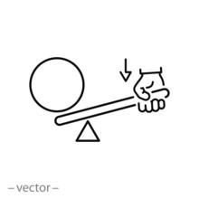 Leverage Icon, Lever Effort, Balance Line Symbol On White Background - Editable Stroke Vector Illustration Eps10
