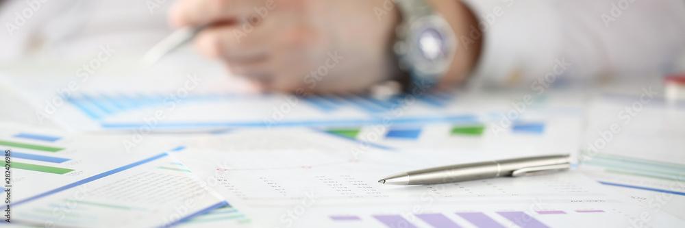 Obraz Silver pen lie on table with business fototapeta, plakat