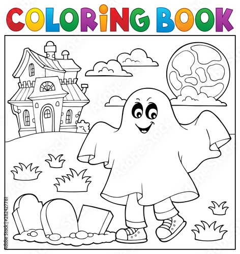 Poster de jardin Enfants Coloring book boy in ghost costume 1
