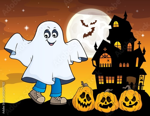 Poster de jardin Enfants Boy in ghost costume theme image 1