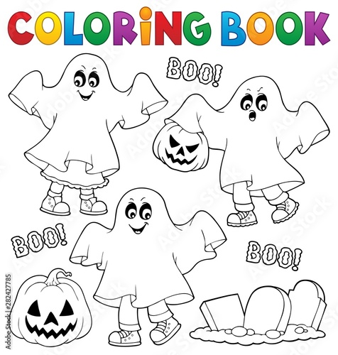 Papiers peints Enfants Coloring book kids in ghost costumes 1