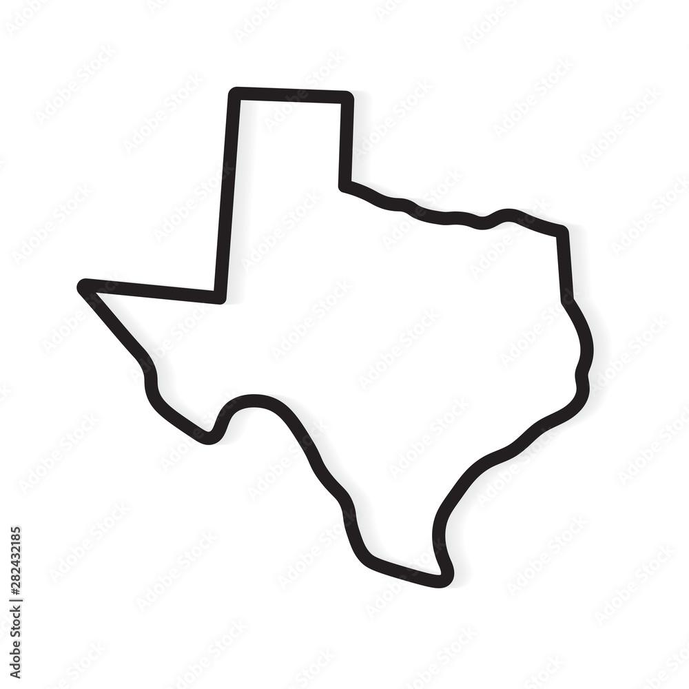 Fototapeta black outline of Texas map- vector illustration