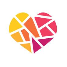 Colorful Geometric Heart Icon-...