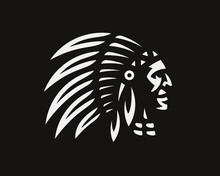 American Indian Logo. Indian Emblem Design Editable For Your Business. Vector Illustration.