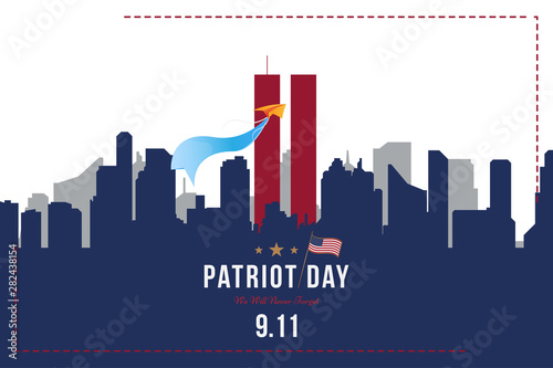 Patriot Day september 11. 2001 We will never forget. Font inscription with USA flag and city silhouette on a background. Banner to the day of memory of the American people. Flat element EPS 10