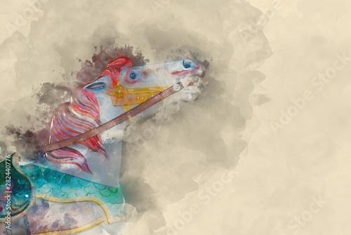 Fényképezés Digital watercolour painting of Beautiful nostalgic colorful vintage carousel me