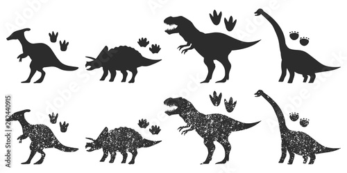 Dinosaurs and footprints black silhouette vector set isolated on a white background Canvas Print