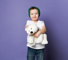 Cute Smiling Little Kid Boy In...