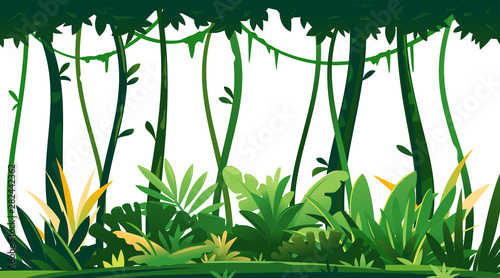 Vászonkép Wild jungle forest with trees, bushes and lianas on white background, decorative