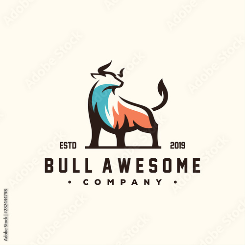 Stampa su Tela awesome bull color logo design