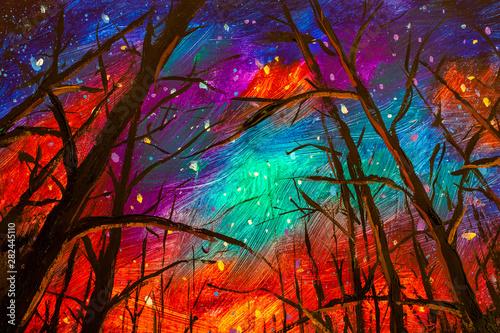 Türaufkleber Violett rot Original acrylic painting Night landscape. Beautiful illustration starry sky through trees in forest artwork art on canvas.