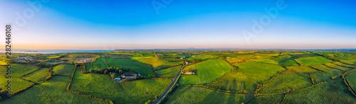 Valokuvatapetti aerial panoramic view of summer countryside sunset,Northern Ireland