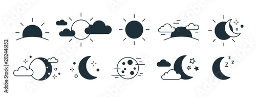 Obraz Bundle of rising or setting sun, crescent moon, cloud and stars symbols. Set of day and night time monochrome pictograms drawn with black contour lines on white background. Modern vector illustration. - fototapety do salonu
