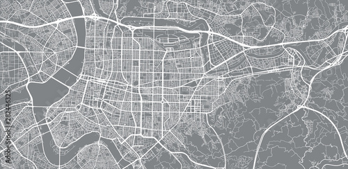 Canvas Print Urban vector city map of Taipei, China