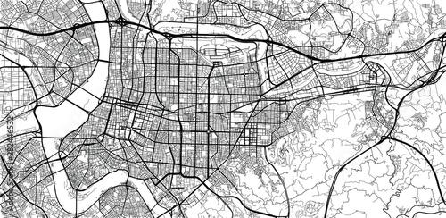 Urban vector city map of Taipei, China Wallpaper Mural