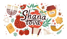 Rosh Hashanah Horizontal Background With Shana Tova Inscription Decorated By Menorah, Shofar Horn, Torah, Honey, Apples, Pomegranates. Flat Cartoon Vector Illustration For Jewish New Year Celebration.
