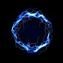 Lightning Round Frame. Blue Plasma Magical Portal. Vector Illustration.