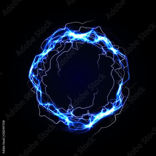 Lightning round frame Tablou Canvas