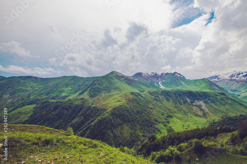 Fototapeta Green mountains great landscape. Cloudy blue sky obraz na płótnie