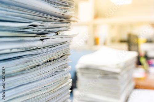 stack of documents on desktop in office. Fototapet