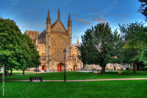West front of Winchester Cathedral, one of the largest cathedrals in Europe Wallpaper Mural