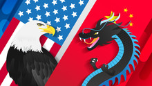 Eagle VS Dragon Vector Illustration. Economic Trade Between USA And China Concept.