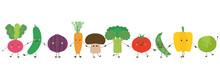 Personnages De Légumes Alignés – Se Tenant Par La Main