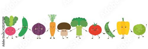 Photo Personnages de légumes alignés – se tenant par la main