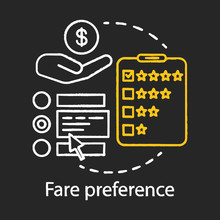 Fare Preference Chalk Icon. Payment For Public Transportation. Travel Expenses. Services, Airline Classes Price. Airplane Amenities. Passenger Spendings. Isolated Vector Chalkboard Illustration