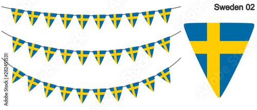 Fotomural  スウェーデンの国旗のガーラーンド ベクターデータ(bunting garland)