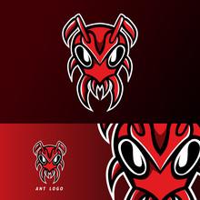 Red Ant Head Mascot Sport Esport Logo Template