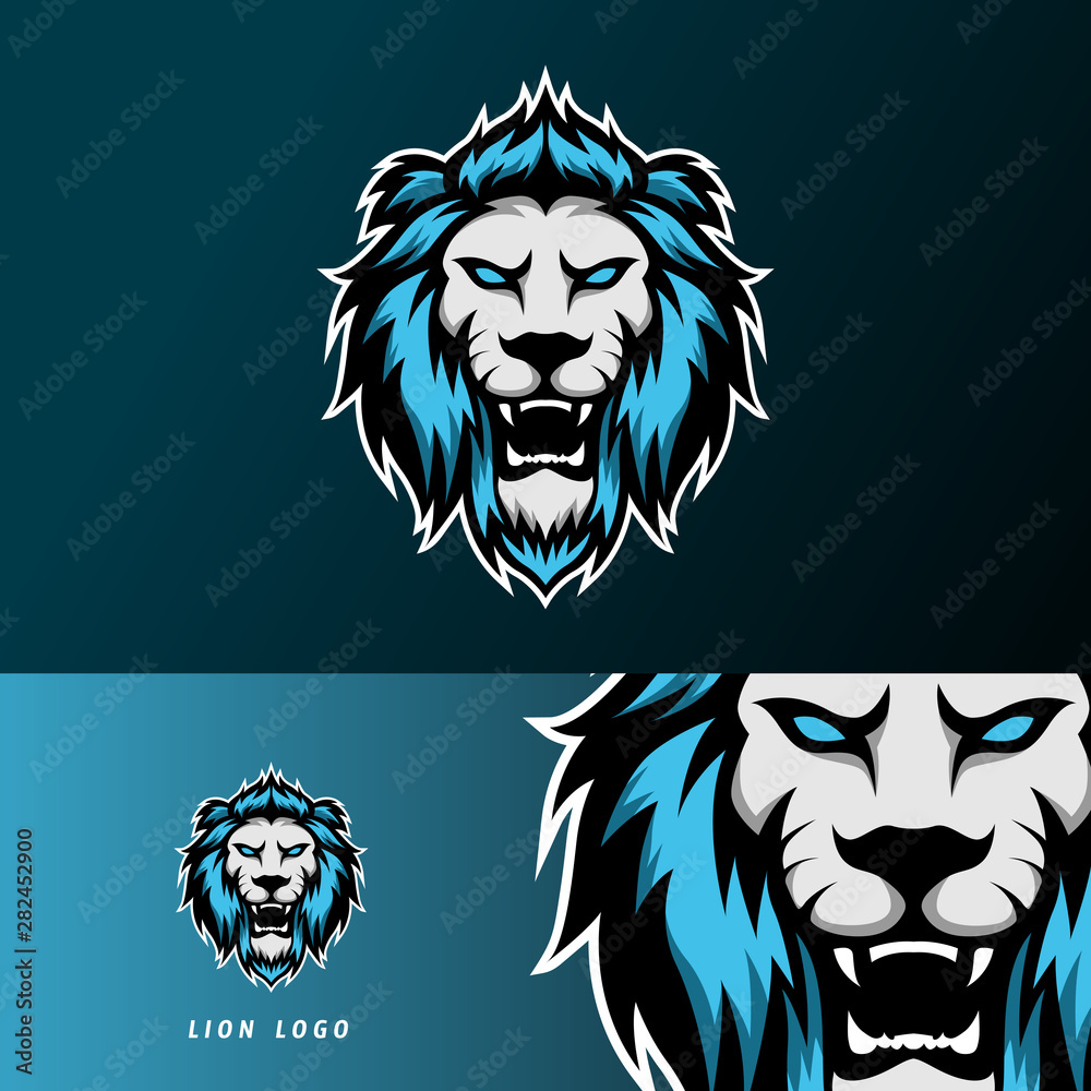 Fototapeta angry lion jaguar mascot sport gaming esport logo template