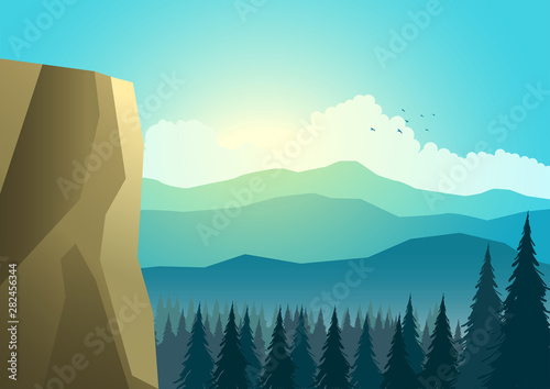 Poster Turquoise Beautiful landscape of mountain and pine trees