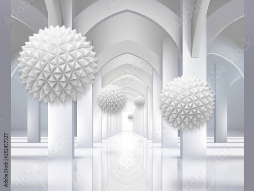 Illustration of 3D crystall ball corridor silver background 3D wallpaper and tunnel