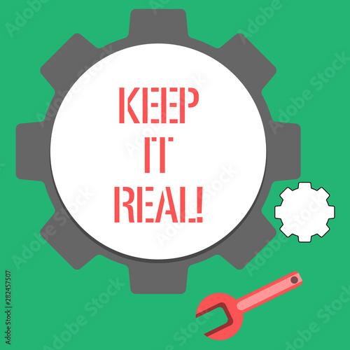 Fényképezés  Text sign showing Keep It Real