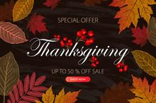 Calligraphy Of Thanksgiving Day Sale Banner. Seasonal Lettering, Vector Illustration.