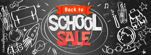 Poster Ouest sauvage Back to school Sale horizontal banner, doodle background, vector illustration.